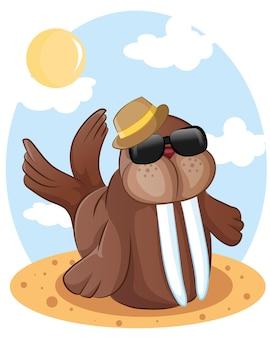 Ilustracja kreskówka morsa z okularami na plaży