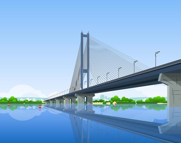 Ilustracja kreskówka mostu południowego w kijowie.