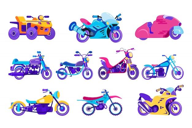 Ilustracja kreskówka motocykl, motocykl, pojazd mechaniczny, rower w klasycznym stylu dla zabawy sportowe ikony na białym tle