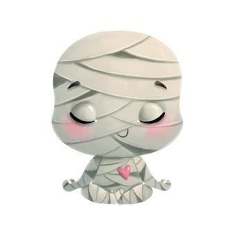 Ilustracja kreskówka mumia medytacji. halloweenowa joga