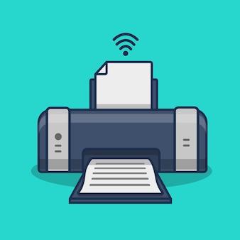 Ilustracja kreskówka na białym tle drukarka bezprzewodowa