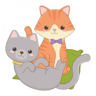 Ilustracja kreskówka na białym tle kotów clipart