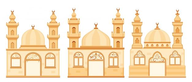 Ilustracja kreskówka na białym tle meczety