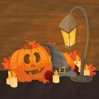 Ilustracja kreskówka na halloween - kapelusz, latarnia, straszna dynia na jasnym pomarańczowym tle