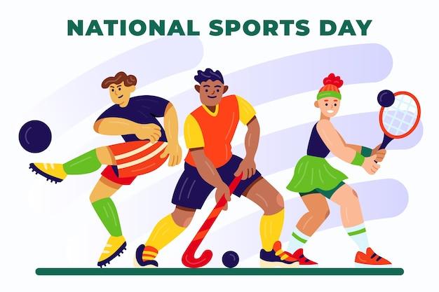 Ilustracja kreskówka narodowy dzień sportu