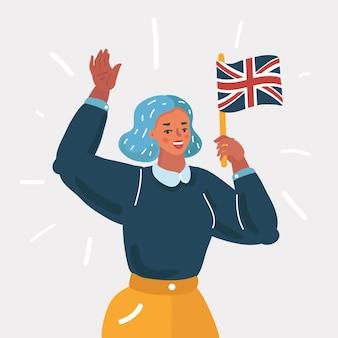 Ilustracja kreskówka nauki języka angielskiego lub podróży. piękna dziewczyna z flagą brytyjską macha do ciebie. charakter człowieka na białym tle.