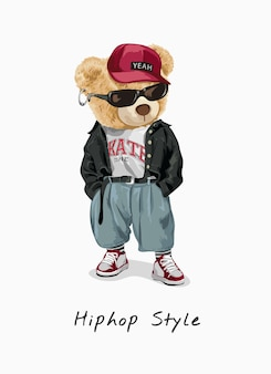 Ilustracja kreskówka niedźwiedź hip-hopu
