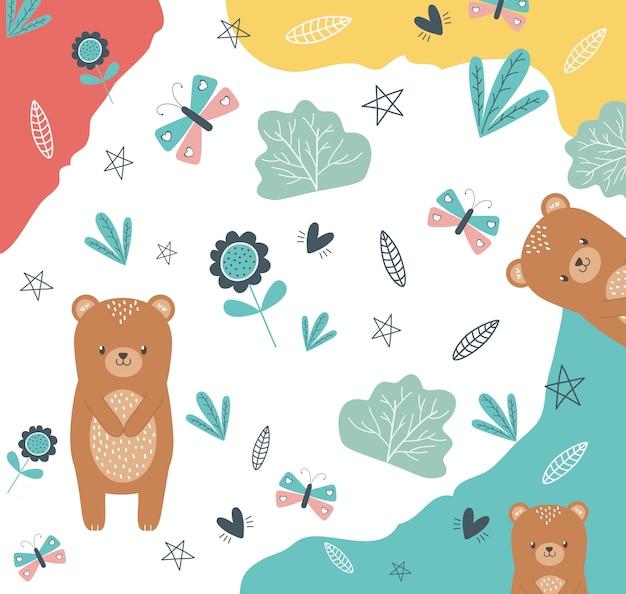 Ilustracja kreskówka niedźwiedź projekt wektor