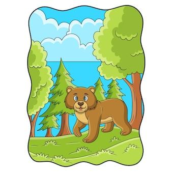 Ilustracja kreskówka niedźwiedź spacerujący po lesie w poszukiwaniu jedzenia