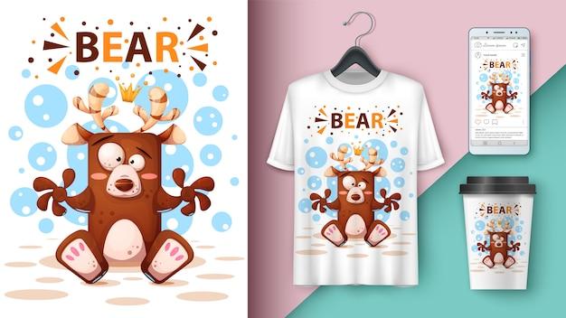 Ilustracja kreskówka niedźwiedź
