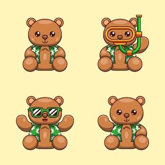 Ilustracja kreskówka niedźwiedzia grizzly z letnią koszulę gotowy na światowy dzień oceanu