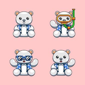Ilustracja kreskówka niedźwiedzia polarnego z letnią koszulę gotowy na światowy dzień oceanu