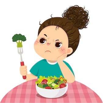 Ilustracja kreskówka nieszczęśliwa dziewczyna nie chce jeść sałatki ze świeżych warzyw.