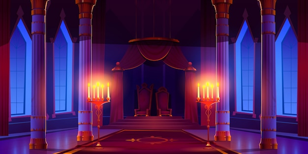 Ilustracja kreskówka noc zamek sala ilustracja
