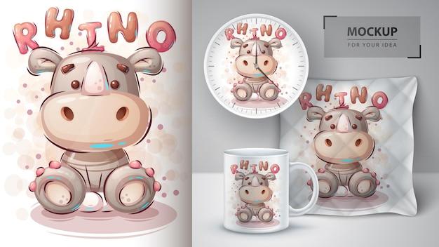 Ilustracja kreskówka nosorożca i merchandising