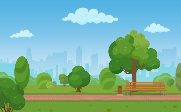 Ilustracja kreskówka nowoczesnego pustego parku miejskiego w tle budynków drapaczy chmur