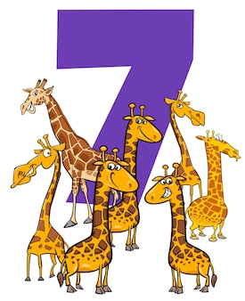 Ilustracja kreskówka numer siedem z grupy znaków zwierząt śmieszne żyrafy