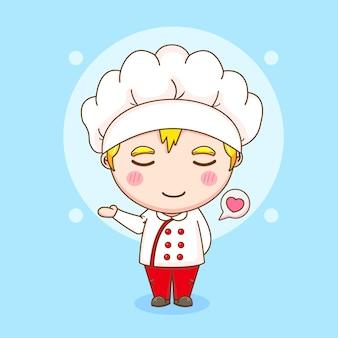 Ilustracja kreskówka o charakterze ładny szefa kuchni