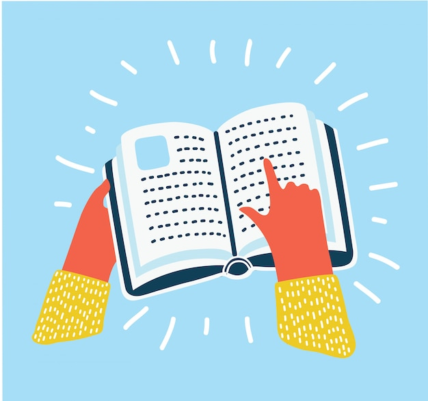 Ilustracja kreskówka odnieś symbol, ludzką ręką trzymać książkę i wskazywać na. ikona w nowoczesnym stylu kolorowym