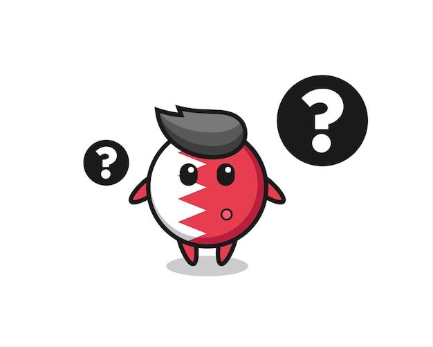 Ilustracja kreskówka odznaka flaga bahrajnu ze znakiem zapytania, ładny styl na koszulkę, naklejkę, element logo