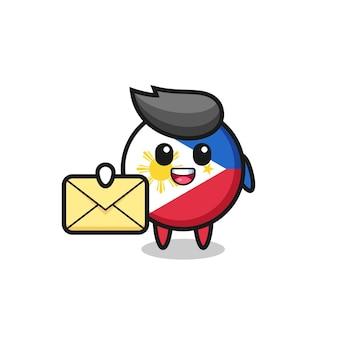 Ilustracja kreskówka odznaka flaga filipin trzymająca żółtą literę, ładny styl dla t shirt, naklejki, element logo