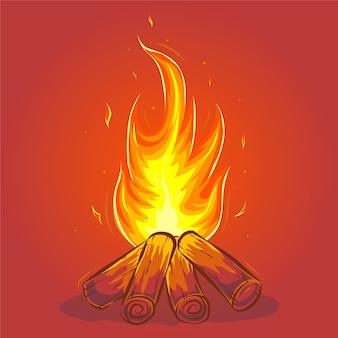 Ilustracja kreskówka ognisko