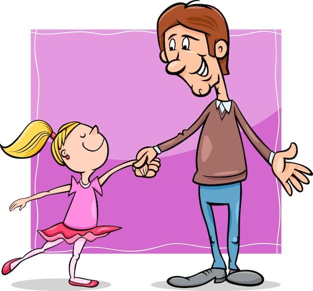 Ilustracja kreskówka ojciec i córka