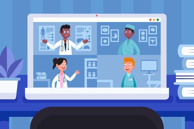 Ilustracja kreskówka online konferencji medycznej