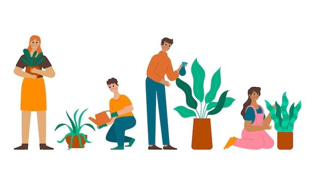 Ilustracja kreskówka osób opiekujących się roślinami