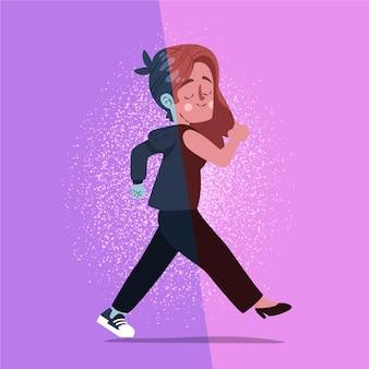 Ilustracja kreskówka osoby transpłciowej