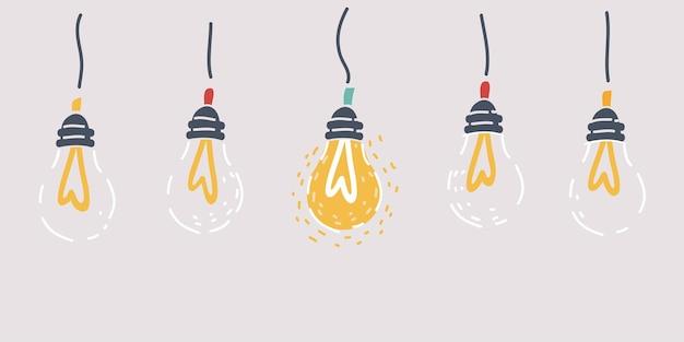 Ilustracja kreskówka oświetlenie żarówki na białym tle. poziome tło.