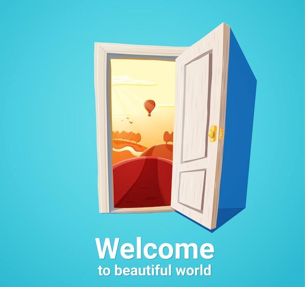 Ilustracja kreskówka otwartych drzwi i natury fantasy zachód słońca. pojęcie wolności.