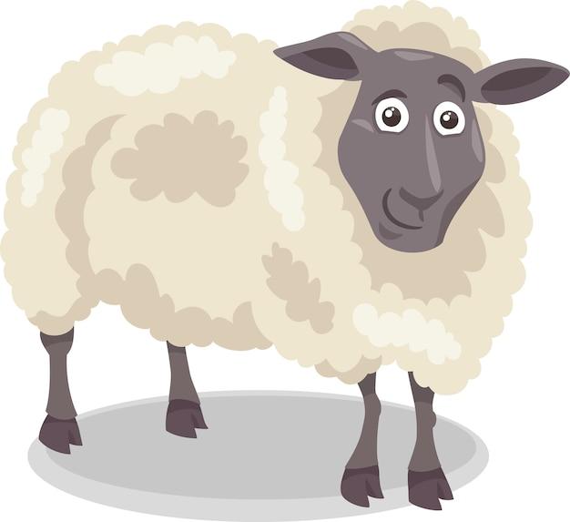 Ilustracja kreskówka owca gospodarstwo rolne