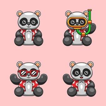 Ilustracja kreskówka panda z letnią koszulę gotowy na światowy dzień oceanu