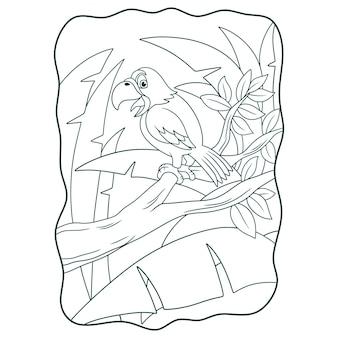 Ilustracja kreskówka papuga ćwierkająca na książce lub stronie pnia drzewa dla dzieci czarno-białe