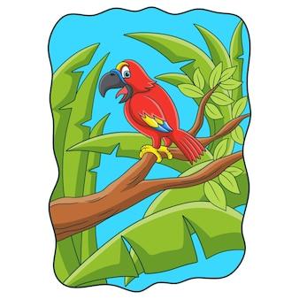 Ilustracja kreskówka papuga ćwierkająca na pniu drzewa