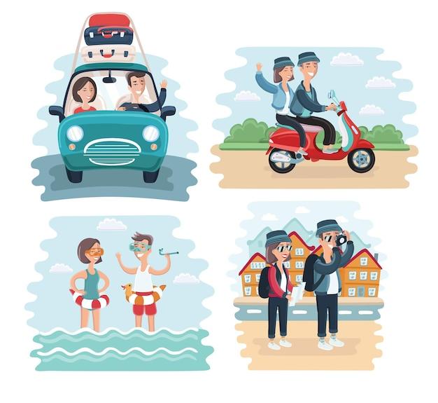Ilustracja Kreskówka Pary Młodych Turystów Premium Wektorów