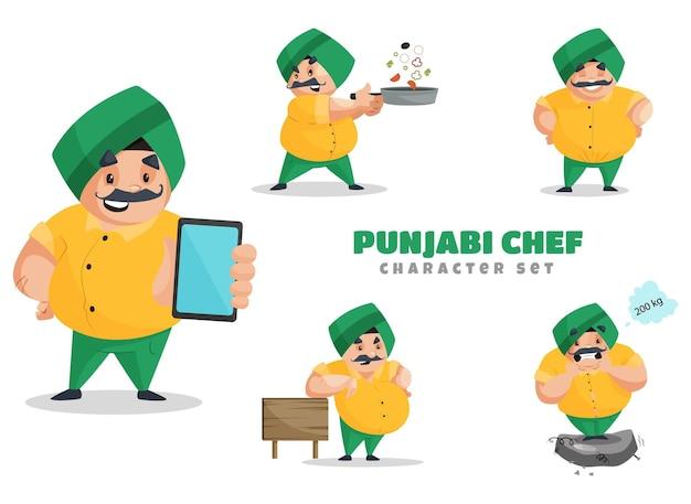 Ilustracja kreskówka pendżabski zestaw znaków kucharz