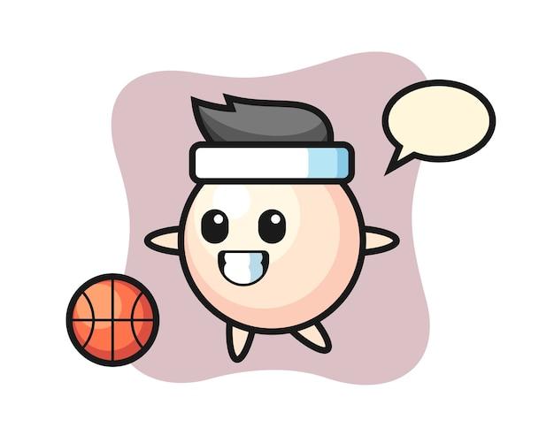Ilustracja kreskówka perła gra w koszykówkę