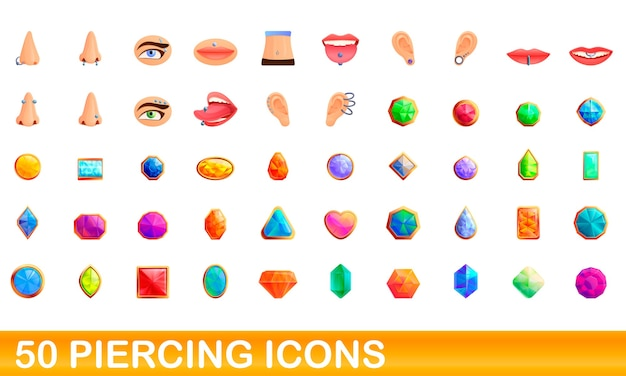 Ilustracja kreskówka piercing zestaw ikon na białym tle