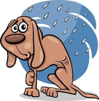 Ilustracja kreskówka pies bezdomny