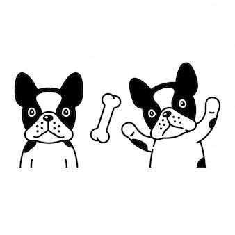 Ilustracja kreskówka pies buldog francuski
