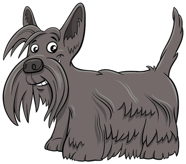 Ilustracja kreskówka pies rasowy scottish terrier
