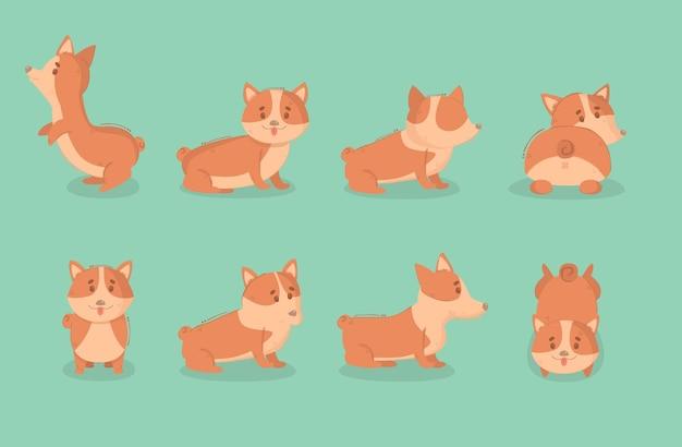 Ilustracja kreskówka pies welsh corgi