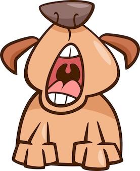 Ilustracja kreskówka pies ziewać