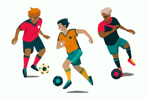 Ilustracja kreskówka piłkarzy