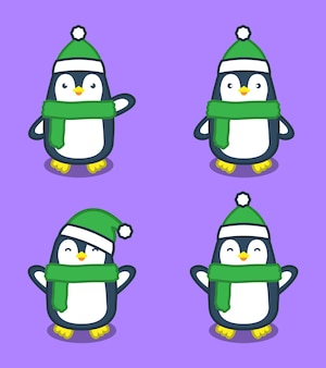Ilustracja kreskówka pingwiny