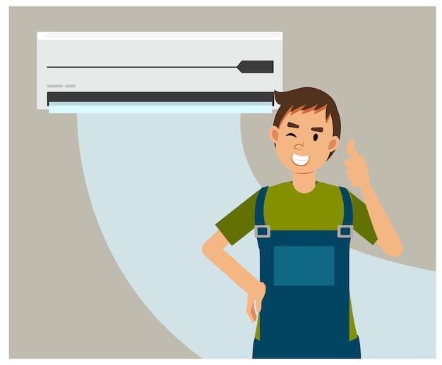 Ilustracja kreskówka płaska serwis i naprawa klimatyzatorów. mechanik kciuk w górę po zakończeniu mocowania klimatyzatora.