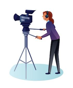 Ilustracja kreskówka płaski kamerzysty. operator kręci wideo w kamerze, osoba telewizyjna przy pracy z kamerą na statywie, operator filmuje, profesjonalny technik wideo