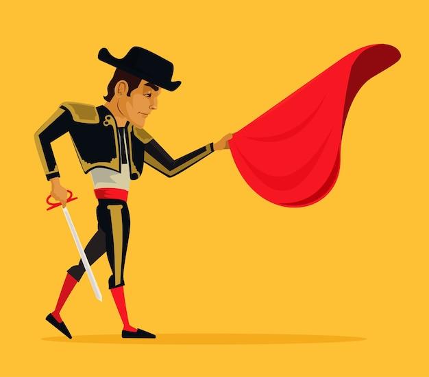 Ilustracja kreskówka płaski matador